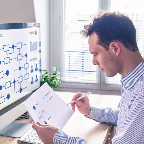Businessman or engineer working on business process automation or algorithm with flowchart on computer screen